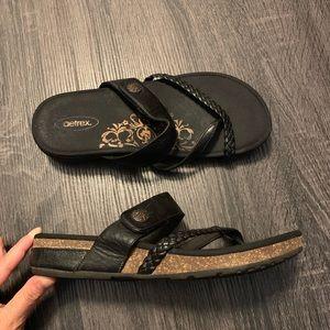 AETREX Black Braided Velcro Straps Slides Sandals